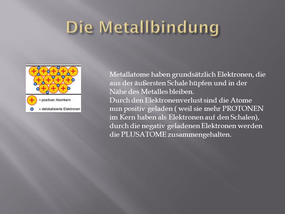 Die Metallbindung Metallatome haben grundsätzlich Elektronen, die