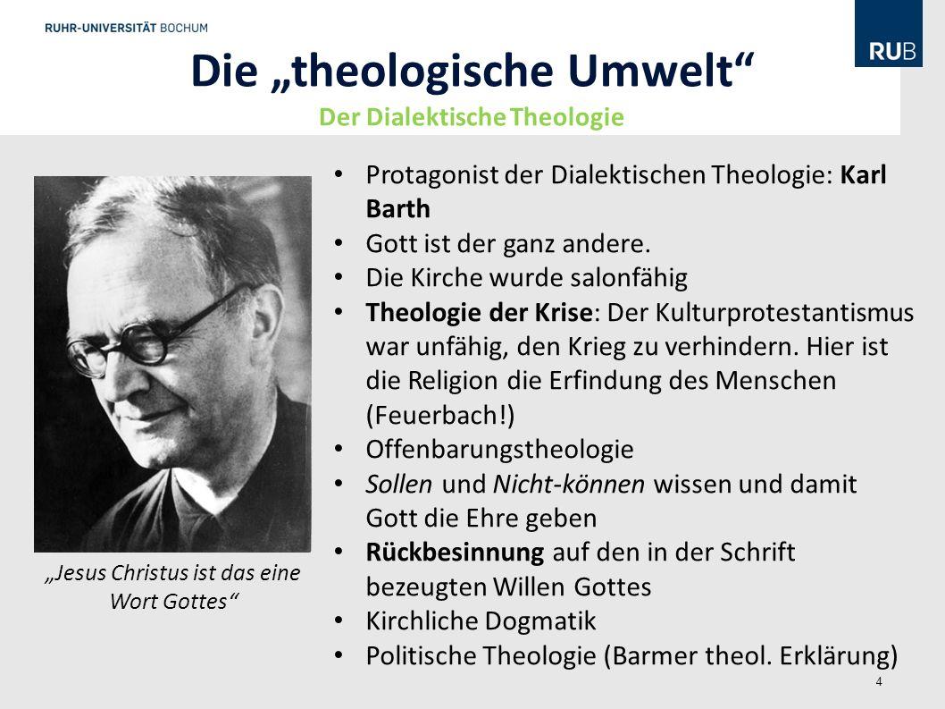 """Die """"theologische Umwelt Der Dialektische Theologie"""