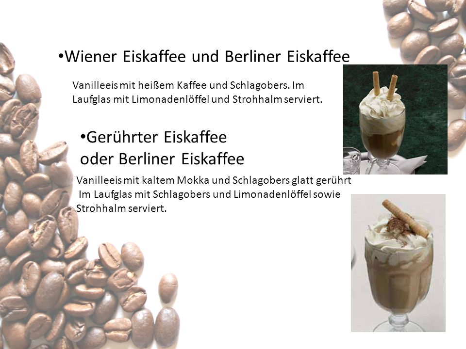 Wiener Eiskaffee und Berliner Eiskaffee