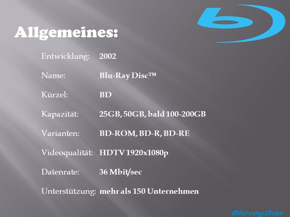 Allgemeines: Entwicklung: 2002 Name: Blu-Ray Disc™ Kürzel: BD