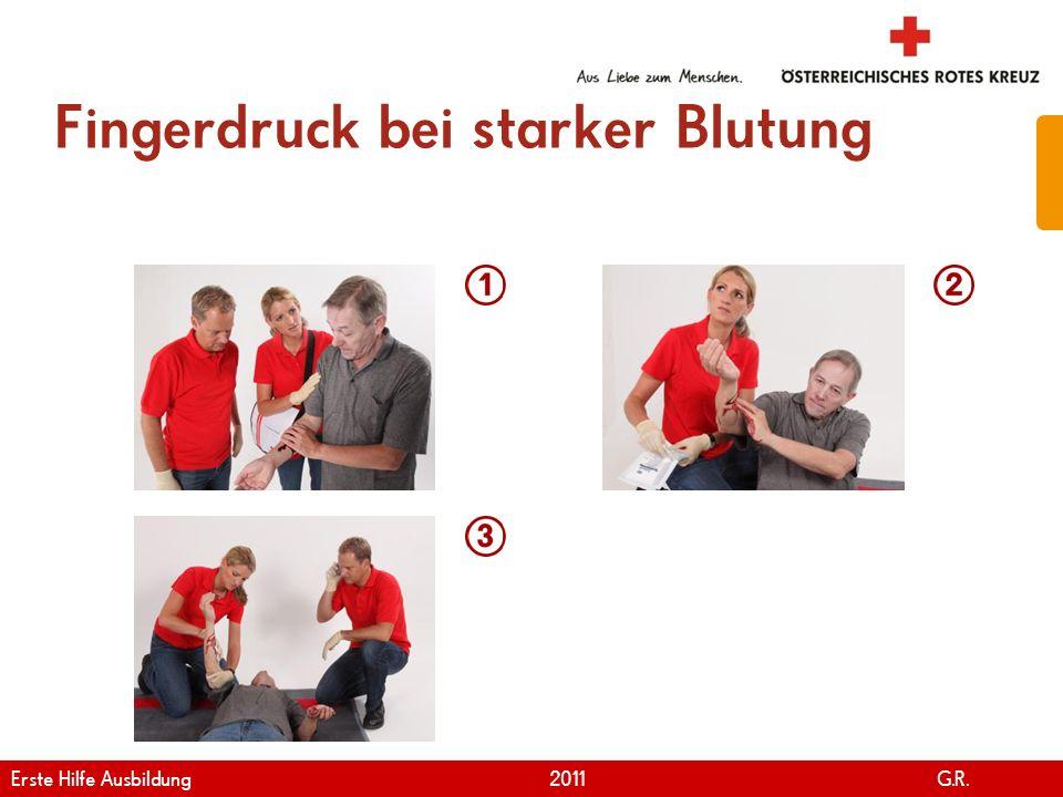Fingerdruck bei starker Blutung