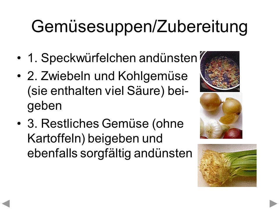 Gemüsesuppen/Zubereitung