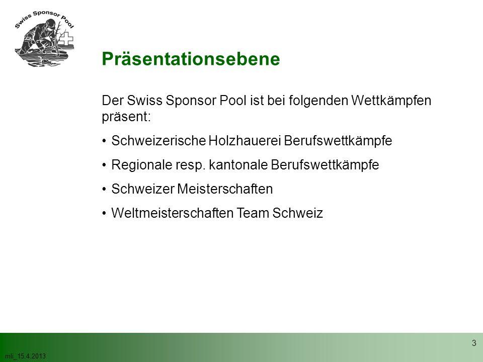 Präsentationsebene Der Swiss Sponsor Pool ist bei folgenden Wettkämpfen präsent: Schweizerische Holzhauerei Berufswettkämpfe.