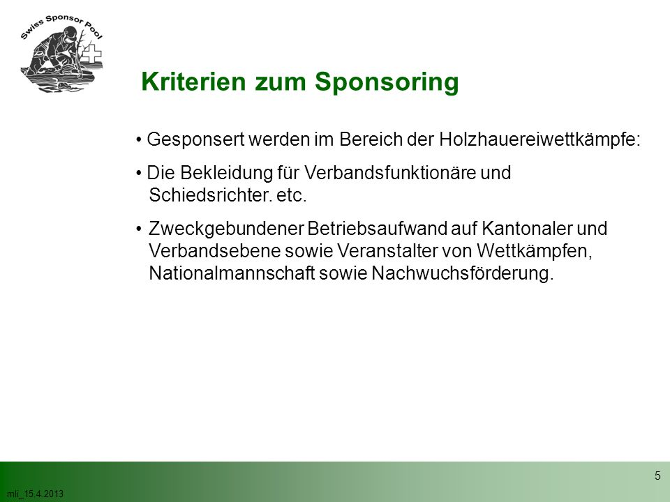 Kriterien zum Sponsoring