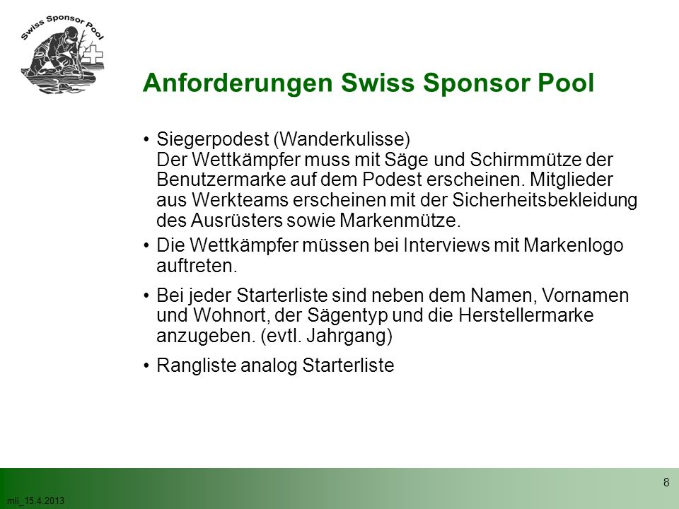 Anforderungen Swiss Sponsor Pool