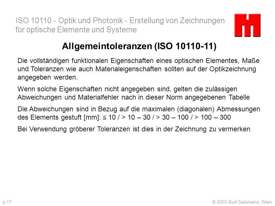 Allgemeintoleranzen (ISO 10110-11)
