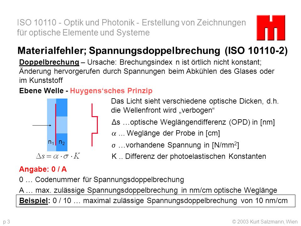 Materialfehler; Spannungsdoppelbrechung (ISO 10110-2)