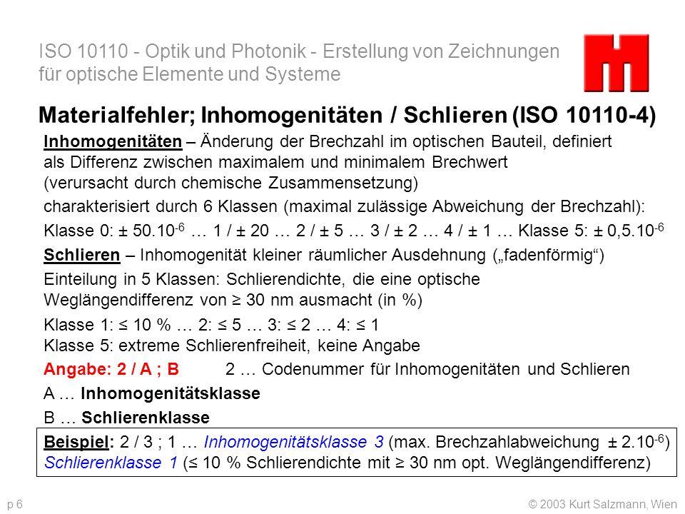 Materialfehler; Inhomogenitäten / Schlieren (ISO 10110-4)