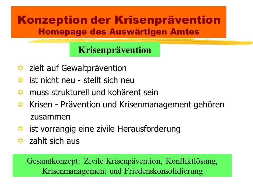 Konzeption der Krisenprävention Homepage des Auswärtigen Amtes