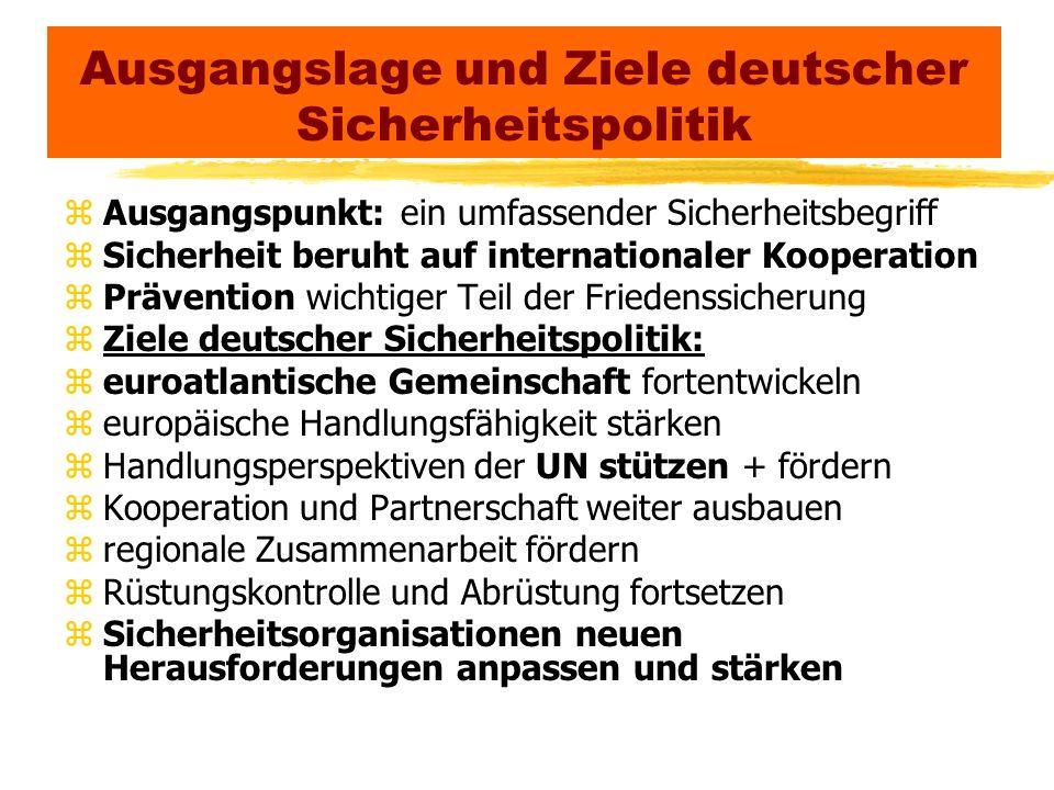 Ausgangslage und Ziele deutscher Sicherheitspolitik