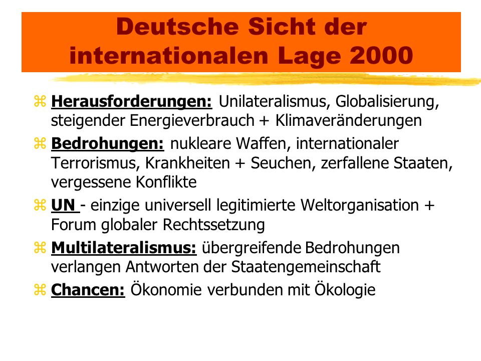 Deutsche Sicht der internationalen Lage 2000