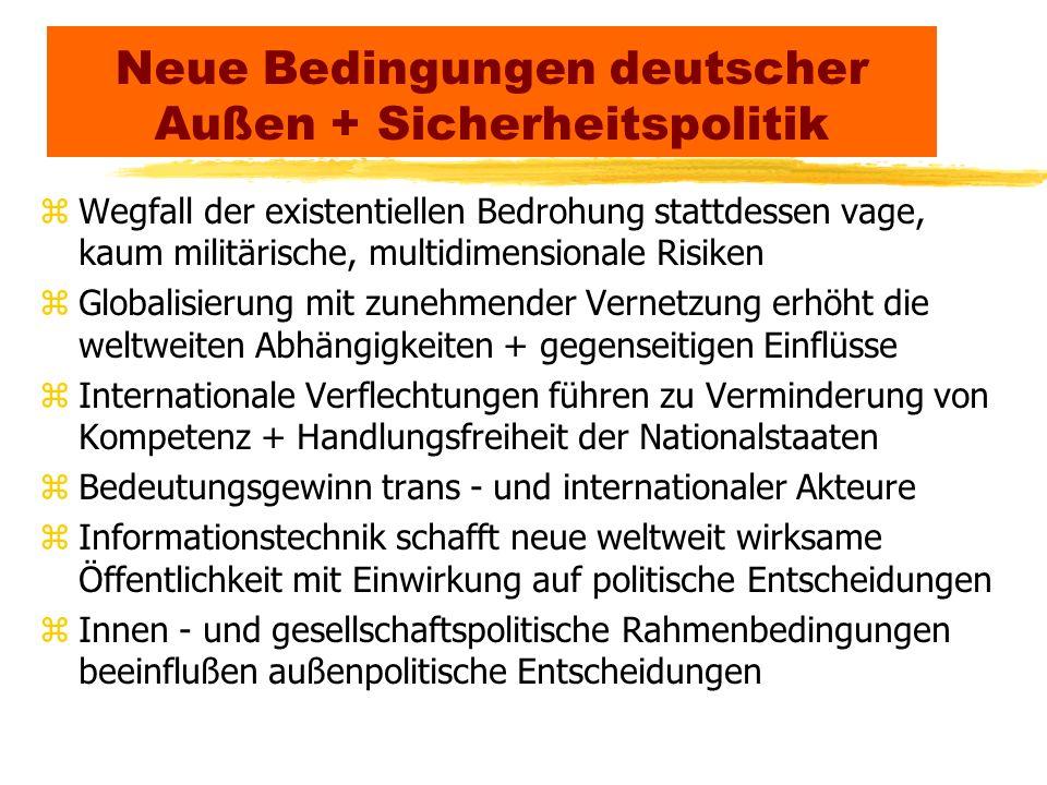 Neue Bedingungen deutscher Außen + Sicherheitspolitik