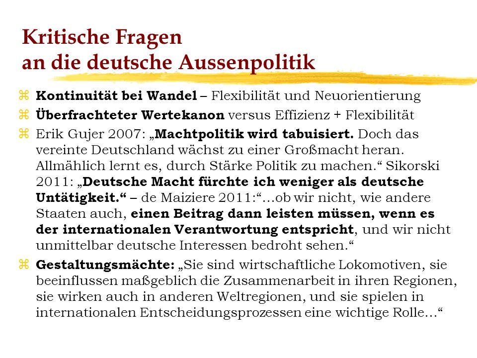 Kritische Fragen an die deutsche Aussenpolitik