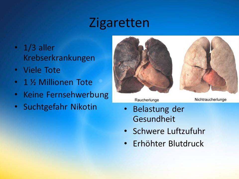 Zigaretten 1/3 aller Krebserkrankungen Viele Tote 1 ½ Millionen Tote