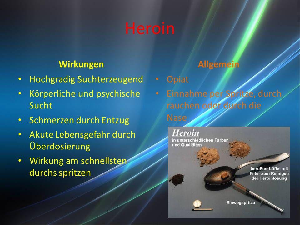 Heroin Wirkungen Allgemein Hochgradig Suchterzeugend