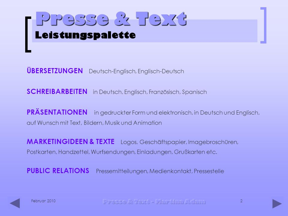 Presse & Text Leistungspalette