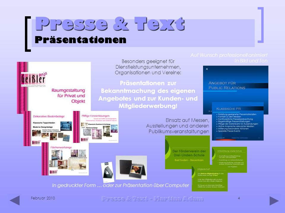 Presse & Text Präsentationen