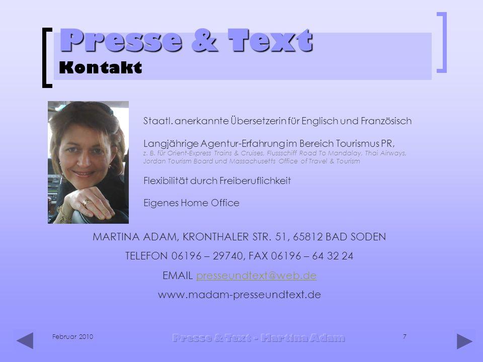 Presse & Text Kontakt Staatl. anerkannte Übersetzerin für Englisch und Französisch.