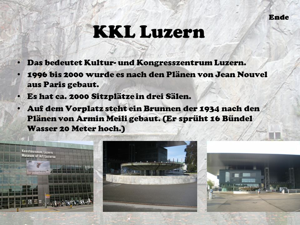 KKL Luzern Das bedeutet Kultur- und Kongresszentrum Luzern.