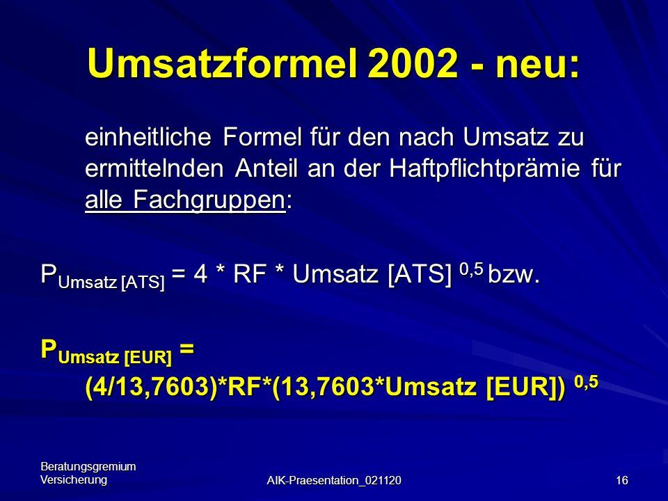 Umsatzformel 2002 - neu: einheitliche Formel für den nach Umsatz zu ermittelnden Anteil an der Haftpflichtprämie für alle Fachgruppen: