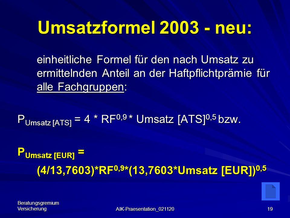 Umsatzformel 2003 - neu: einheitliche Formel für den nach Umsatz zu ermittelnden Anteil an der Haftpflichtprämie für alle Fachgruppen: