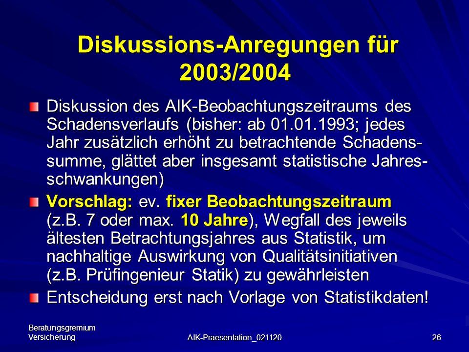 Diskussions-Anregungen für 2003/2004