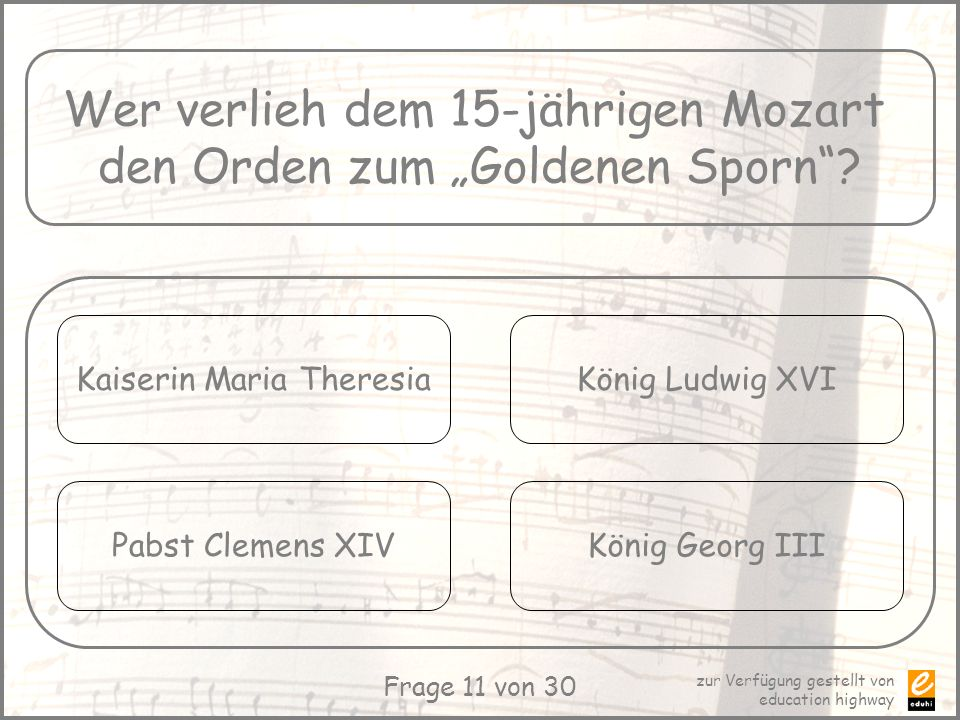 "Wer verlieh dem 15-jährigen Mozart den Orden zum ""Goldenen Sporn"
