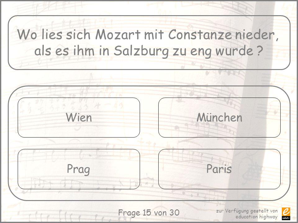 Wo lies sich Mozart mit Constanze nieder,