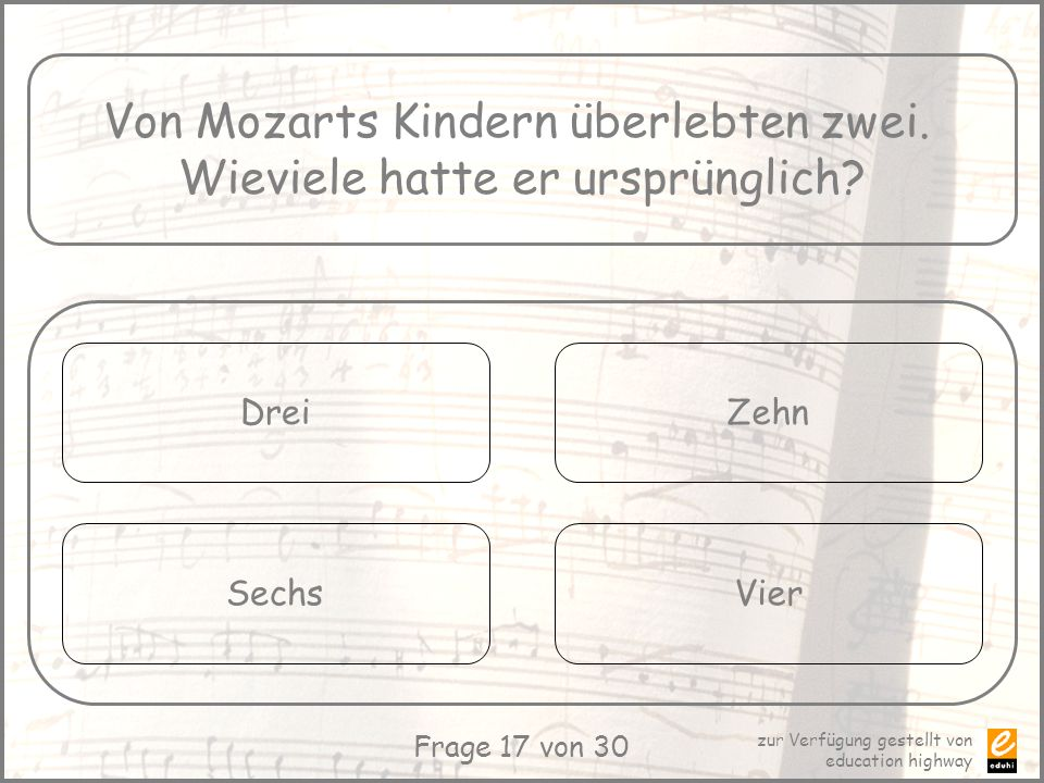Von Mozarts Kindern überlebten zwei. Wieviele hatte er ursprünglich