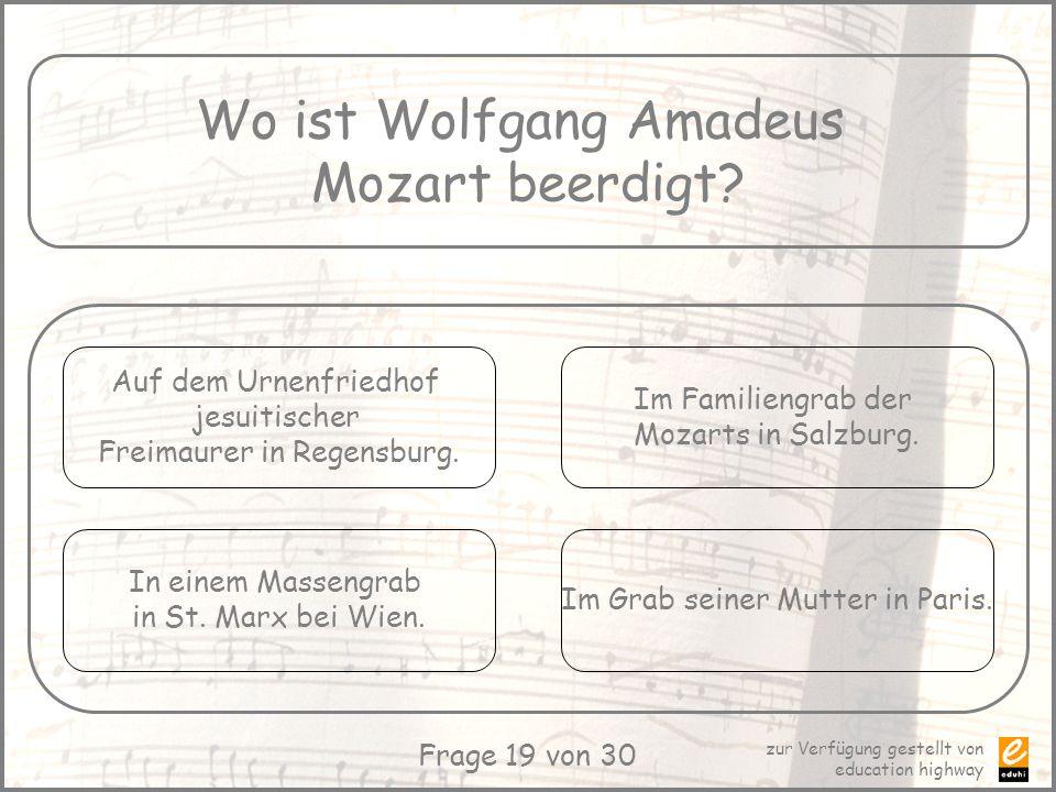 Wo ist Wolfgang Amadeus Mozart beerdigt