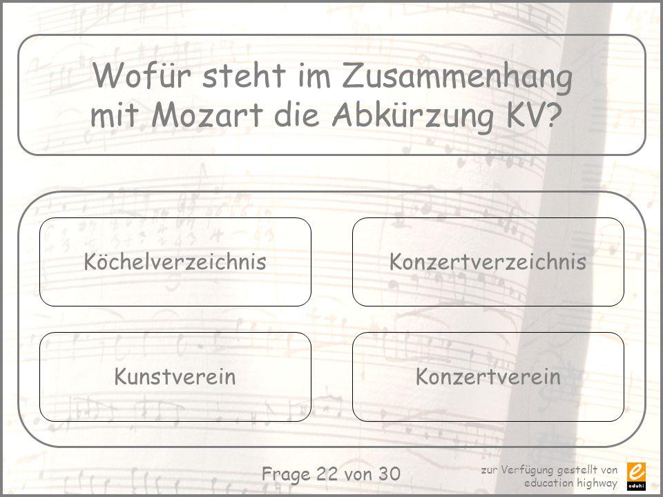 Wofür steht im Zusammenhang mit Mozart die Abkürzung KV