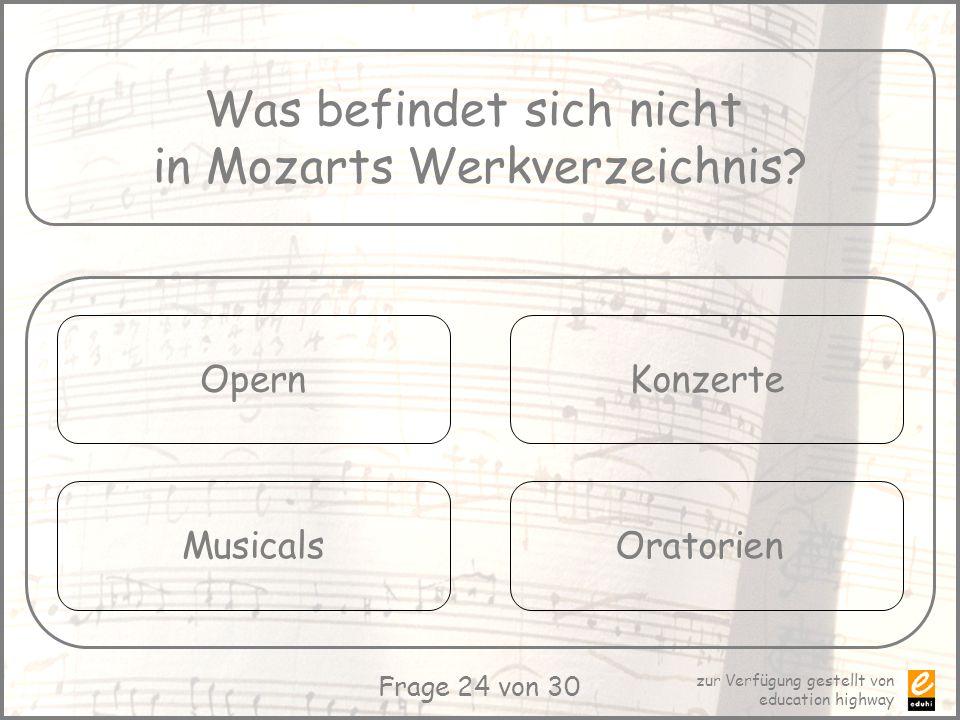 Was befindet sich nicht in Mozarts Werkverzeichnis