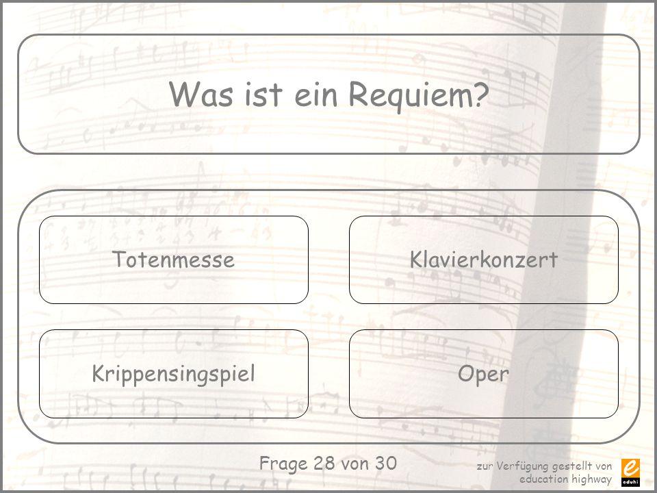 Was ist ein Requiem Totenmesse Klavierkonzert Krippensingspiel Oper