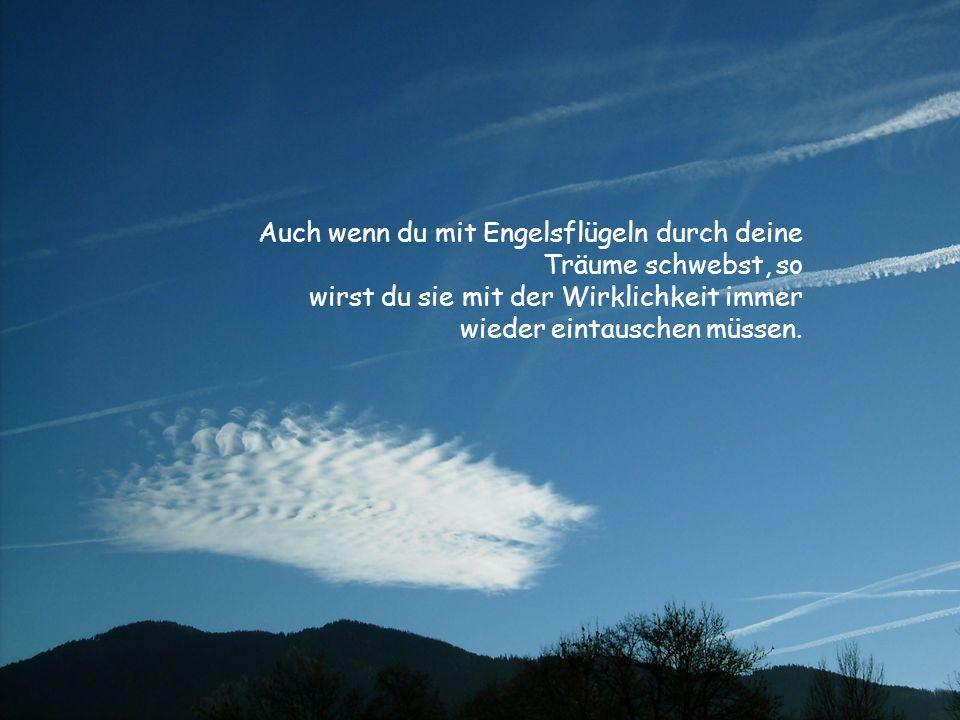 Auch wenn du mit Engelsflügeln durch deine Träume schwebst, so wirst du sie mit der Wirklichkeit immer wieder eintauschen müssen.