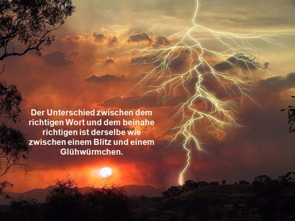 Der Unterschied zwischen dem richtigen Wort und dem beinahe richtigen ist derselbe wie zwischen einem Blitz und einem Glühwürmchen.