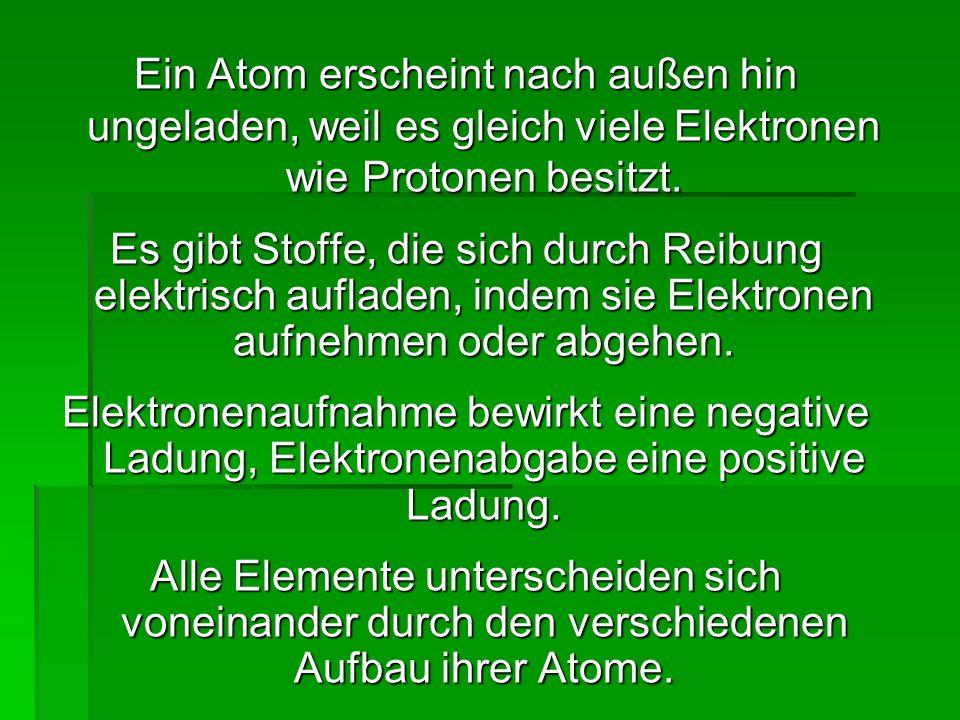 Ein Atom erscheint nach außen hin ungeladen, weil es gleich viele Elektronen wie Protonen besitzt.