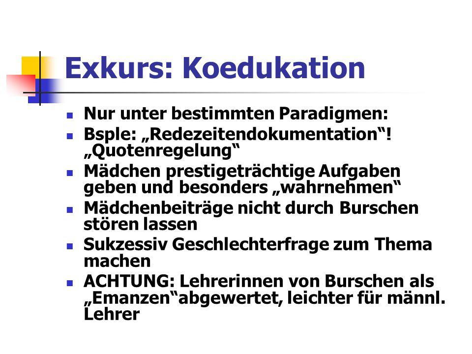 Exkurs: Koedukation Nur unter bestimmten Paradigmen: