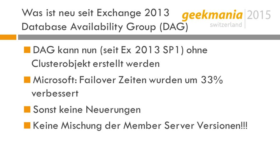 Was ist neu seit Exchange 2013 Database Availability Group (DAG)