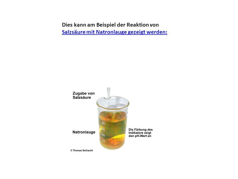 Dies kann am Beispiel der Reaktion von Salzsäure mit Natronlauge gezeigt werden: