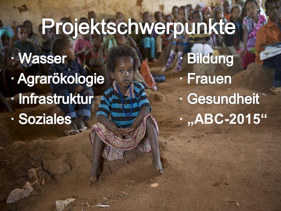 """Projektschwerpunkte ∙ Wasser ∙ Bildung ∙ Agrarökologie ∙ Frauen ∙ Infrastruktur ∙ Gesundheit ∙ Soziales ∙ """"ABC-2015"""