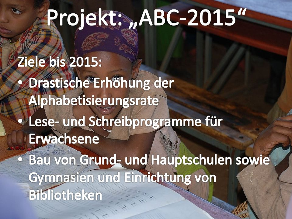 "Projekt: ""ABC-2015 Ziele bis 2015:"