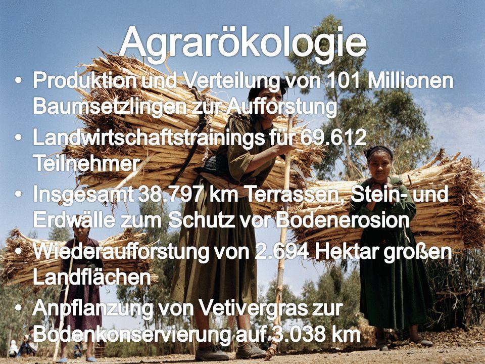 Agrarökologie Produktion und Verteilung von 101 Millionen Baumsetzlingen zur Aufforstung. Landwirtschaftstrainings für 69.612 Teilnehmer.