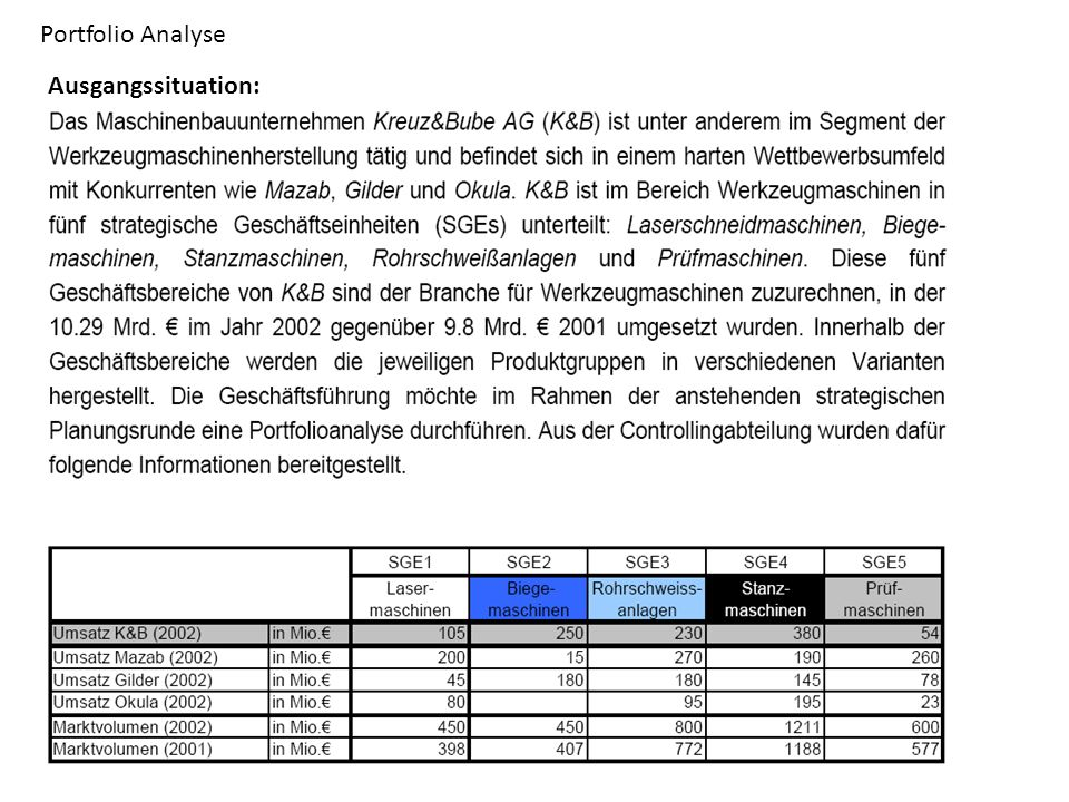 Portfolio Analyse Ausgangssituation: