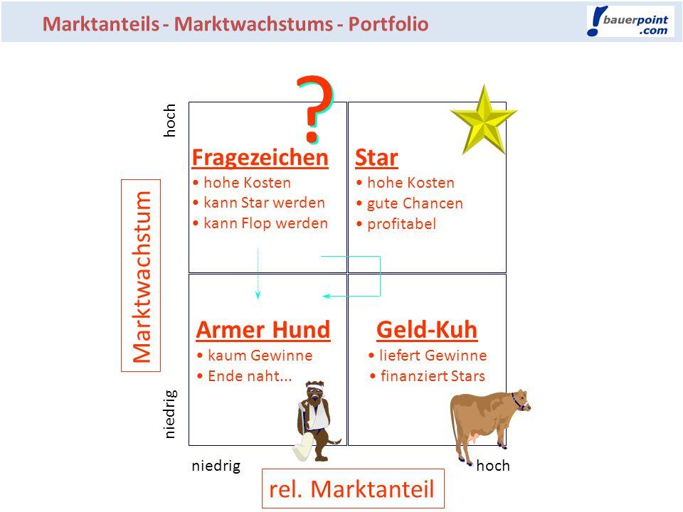 Star Marktwachstum Armer Hund Geld-Kuh rel. Marktanteil Fragezeichen