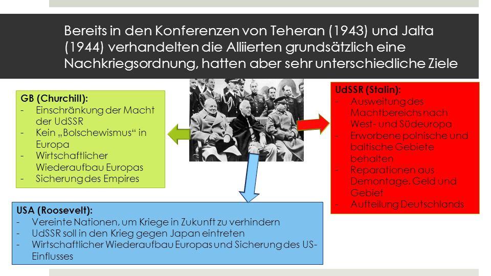Bereits in den Konferenzen von Teheran (1943) und Jalta (1944) verhandelten die Alliierten grundsätzlich eine Nachkriegsordnung, hatten aber sehr unterschiedliche Ziele