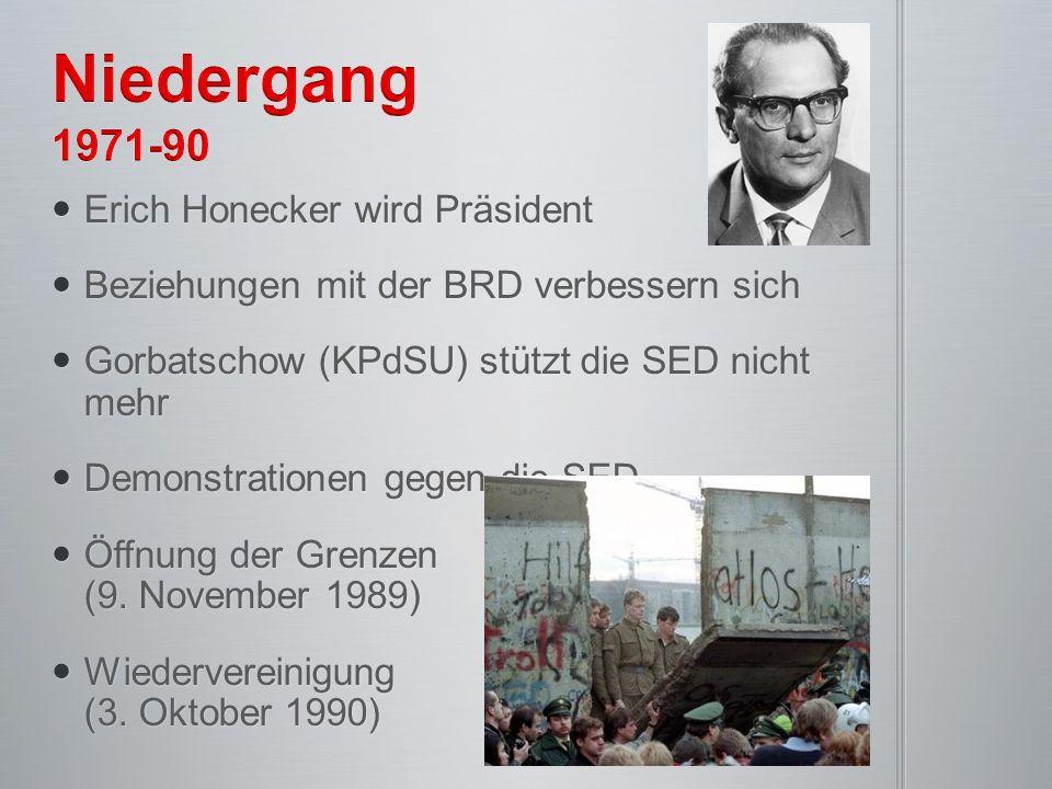 Niedergang 1971-90 Erich Honecker wird Präsident