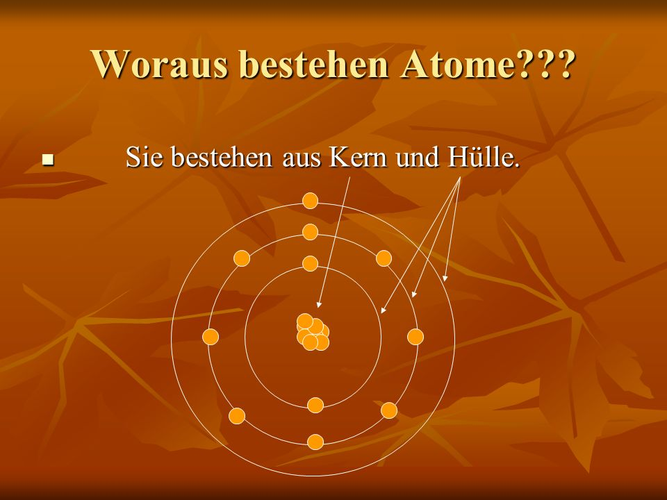Woraus bestehen Atome Sie bestehen aus Kern und Hülle.