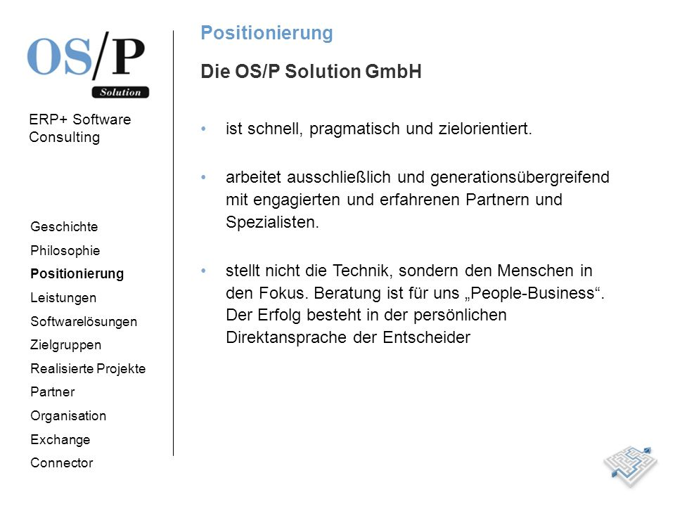 Positionierung Die OS/P Solution GmbH