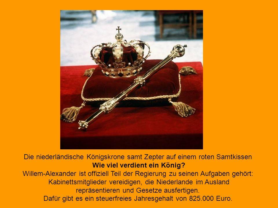 Die niederländische Königskrone samt Zepter auf einem roten Samtkissen