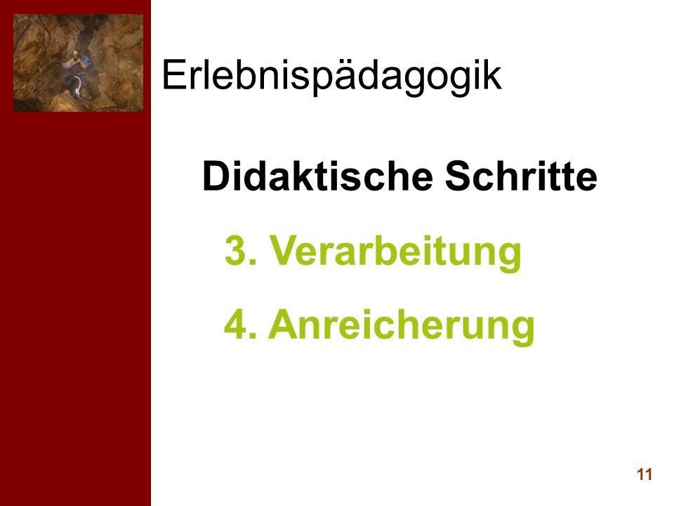 Erlebnispädagogik Didaktische Schritte 3. Verarbeitung 4. Anreicherung